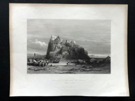 G. N. Wright 1840 Antique Print. Castle and Rock of Ischia, Naples, Italy